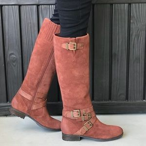 Rust Leather Buckle Ankle Lug Sole Knee High Boots